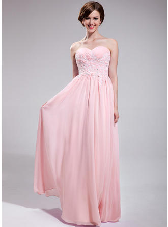 Chiffon Sleeveless A-Line/Princess Prom Dresses Sweetheart Ruffle Beading Appliques Lace Sequins Floor-Length