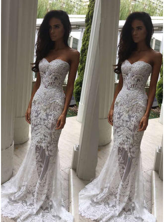 Trumpet/Mermaid Lace Sleeveless Sweetheart Sweep Train  ...