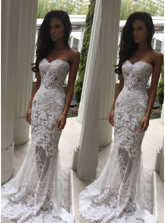 Sweetheart Trumpet/Mermaid Wedding Dresses Lace Sleeveless Sweep Train (002146251)