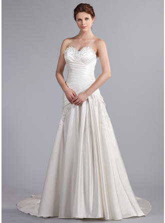 Delicate Cathedral Train A-Line/Princess Wedding Dresses Sweetheart Satin Sleeveless