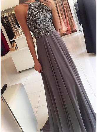 Chiffon Sleeveless A-Line/Princess Prom Dresses Scoop Neck Beading Sweep Train (018145580)