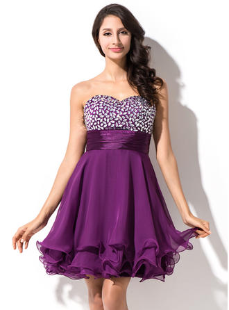 Newest 30D Chiffon Sleeveless Sweetheart Beading Homecoming Dresses