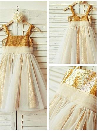 Square Neckline A-Line/Princess Flower Girl Dresses Tulle/Sequined Pleated Sleeveless Tea-length