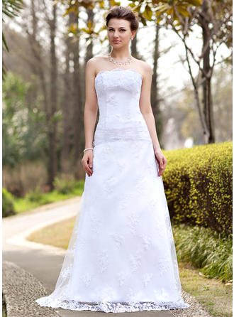 Beautiful Sweep Train A-Line/Princess Wedding Dresses Strapless Lace Sleeveless