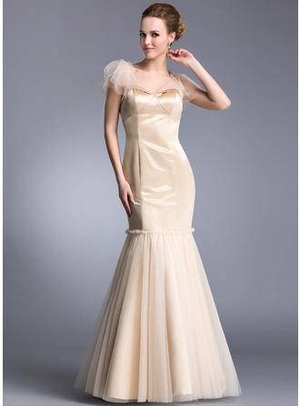 Beautiful V-neck Trumpet/Mermaid Satin Tulle Evening Dresses