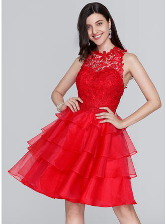 A-Line/Princess Scoop Neck Organza Sleeveless Knee-Length Homecoming Dresses