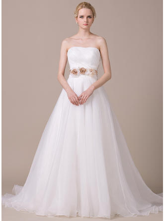 Luxurious Court Train Ball-Gown Wedding Dresses Sweetheart Organza Sleeveless