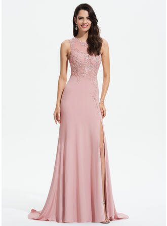 Sheath/Column Scoop Neck Sweep Train Jersey Evening Dress With Lace Split Front