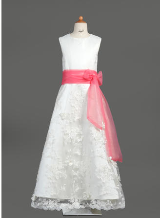 A-Line/Princess Scoop Neck Floor-length With Sash/Bow(s) Organza/Satin/Lace Flower Girl Dress