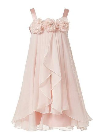 A-Line/Princess Straps Tea-length With Flower(s) Chiffon Flower Girl Dresses