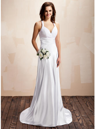 Court Train Sleeveless A-Line/Princess - Charmeuse Lace Wedding Dresses