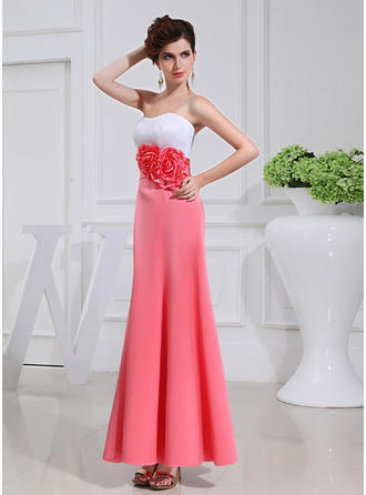 A-Line/Princess Satin Bridesmaid Dresses Flower(s) Strapless Sleeveless Ankle-Length