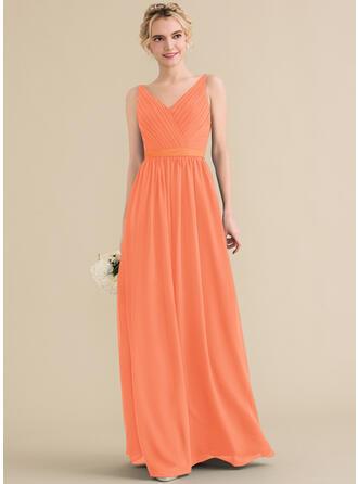 A-Line/Princess V-neck Floor-Length Chiffon Bridesmaid Dress With Ruffle Bow(s)
