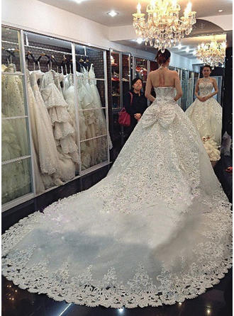 A-Line/Princess Halter Cathedral Train Wedding Dress With Lace Beading Appliques Lace Sequins