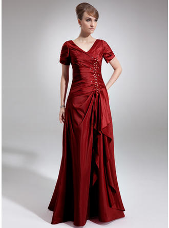 A-Line/Princess V-neck Taffeta Short Sleeves Floor-Length Beading Sequins Cascading Ruffles Mother of the Bride Dresses