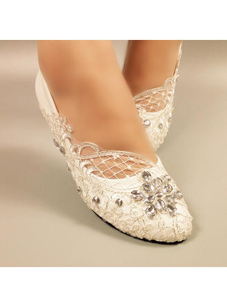 Women's Closed Toe Pumps Flat Heel Leatherette With Rhinestone Stitching Lace Wedding Shoes