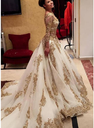 A-Line/Princess Chiffon Evening Dresses Sequins V-neck Long Sleeves Chapel Train