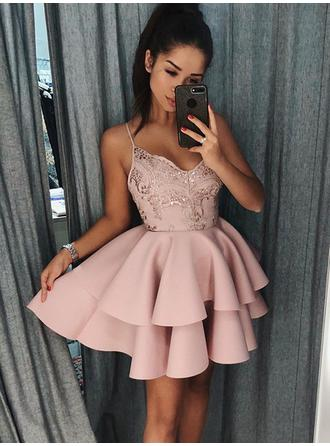 A-Line/Princess V-neck Short/Mini Satin Homecoming Dresses With Ruffle Appliques Lace