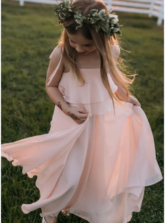 A-Line/Princess Square Neckline/Straps Floor-length With Ruffles Chiffon Flower Girl Dress (010148150)