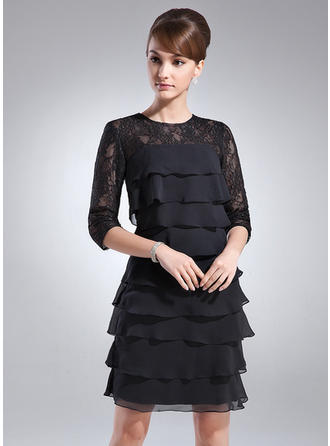 Sheath/Column Scoop Neck Chiffon Lace 1/2 Sleeves Knee-Length Cascading Ruffles Mother of the Bride Dresses