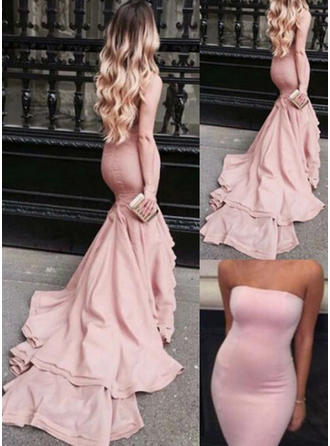 Satin Sleeveless Trumpet/Mermaid Prom Dresses Strapless Court Train