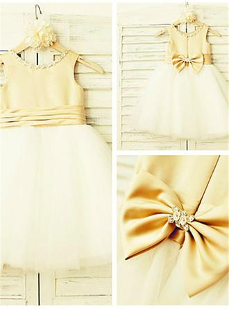 Delicate Knee-length A-Line/Princess Flower Girl Dresses Scoop Neck Satin/Tulle Sleeveless