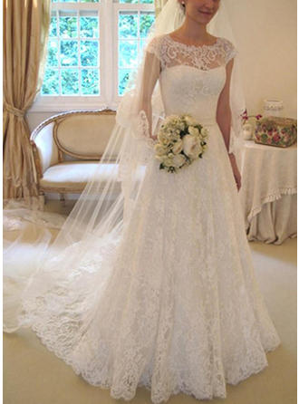 Lace A-Line/Princess Court Train Scoop Square Wedding Dresses Sleeveless
