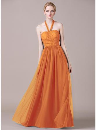 Tulle Lace Sleeveless A-Line/Princess Bridesmaid Dresses Halter Ruffle Floor-Length