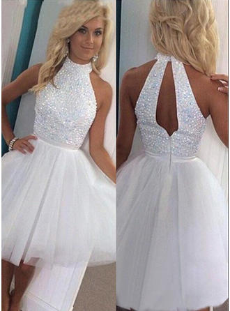 A-Line/Princess Tulle Homecoming Dresses High Neck Sleeveless Knee-Length