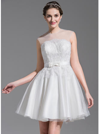 Scoop A-Line/Princess Wedding Dresses Tulle Lace Beading Sequins Bow(s) Sleeveless Short/Mini