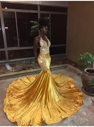 Newest Sequined Prom Dresses Trumpet/Mermaid Court Train V-neck Sleeveless