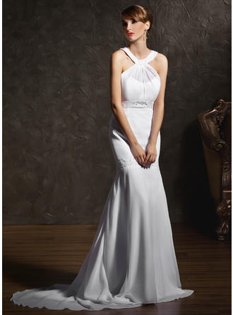 Trumpet/Mermaid Court Train Wedding Dress With Ruffle Beading