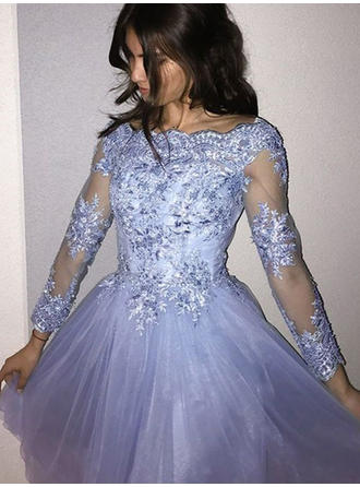 Luxurious Tulle Homecoming Dresses A-Line/Princess Short/Mini Scoop Neck Long Sleeves