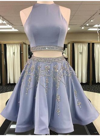 A-Line/Princess Beading Satin Homecoming Dresses Scoop Neck Sleeveless Knee-Length