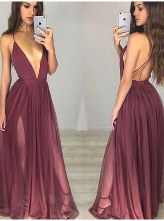 Sexy Chiffon Evening Dresses Floor-Length A-Line/Princess Sleeveless V-neck