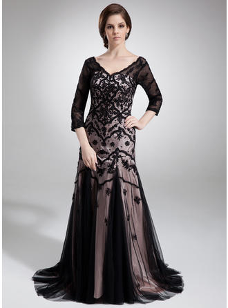 Trumpet/Mermaid Charmeuse Tulle 3/4 Sleeves V-neck Court Train Zipper Up Mother of the Bride Dresses