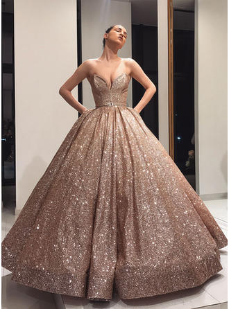 Floor-Length Strapless Sequined Ball-Gown Prom Dresses