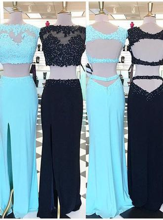 Satin Sleeveless Sheath/Column Prom Dresses Scoop Neck Beading Appliques Lace Floor-Length