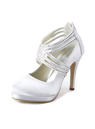 Women's Closed Toe Platform Pumps Cone Heel Satin With Rhinestone Zipper Wedding Shoes
