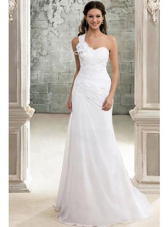 A-Line/Princess One Shoulder Sweep Train Wedding Dress With  ...
