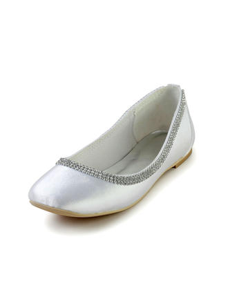 Women's Closed Toe Flats Flat Heel Silk Like Satin With Rhinestone Wedding Shoes