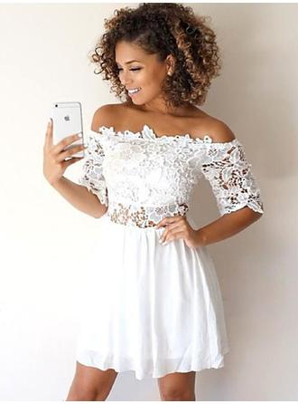 A-Line/Princess Chiffon Cocktail Dresses Lace Appliques Lace Off-the-Shoulder 1/2 Sleeves Short/Mini