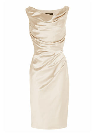 Sheath/Column Cowl Neck Knee-Length Charmeuse Mother of the Bride Dress With Ruffle