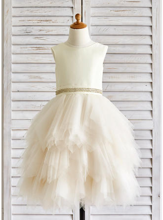A-Line/Princess Scoop Neck Tea-length With Rhinestone Tulle Flower Girl Dresses