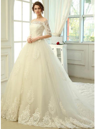 A-Line/Princess Off-The-Shoulder Cathedral Train Wedding Dress With Lace
