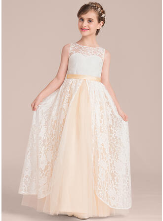 A-Line/Princess Floor-length Flower Girl Dress - Satin/Tulle/Lace Sleeveless Scoop Neck