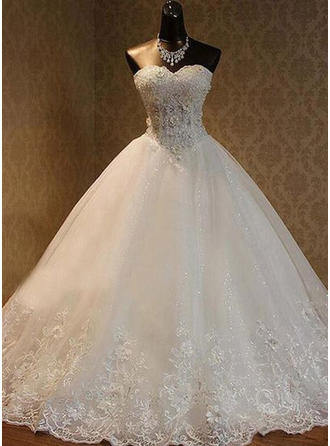 Ball-Gown Sweetheart Floor-Length Wedding Dress With Beading Sequins Bow(s)