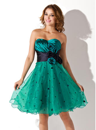Empire Ruffle Sash Flower(s) Charmeuse Organza Homecoming Dresses Sweetheart Sleeveless Knee-Length