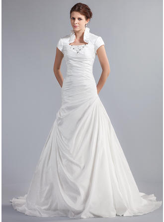 Beading Cascading Ruffles Short Sleeves High Neck Taffeta A-Line/Princess Wedding Dresses