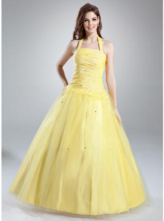 Ball-Gown Halter Floor-Length Taffeta Tulle Prom Dress With Ruffle Beading